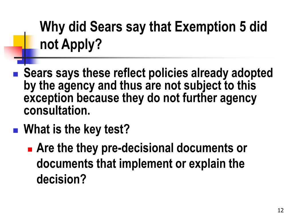 Why did Sears say that Exemption 5 did not Apply?