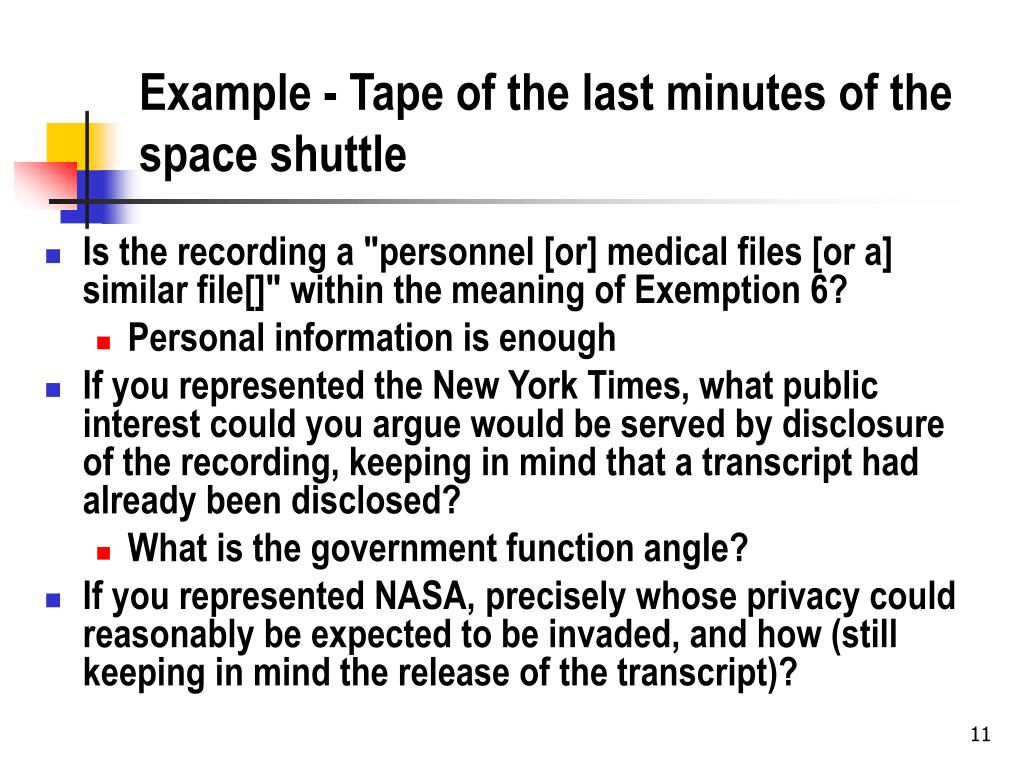 Example - Tape of the last minutes of the space shuttle