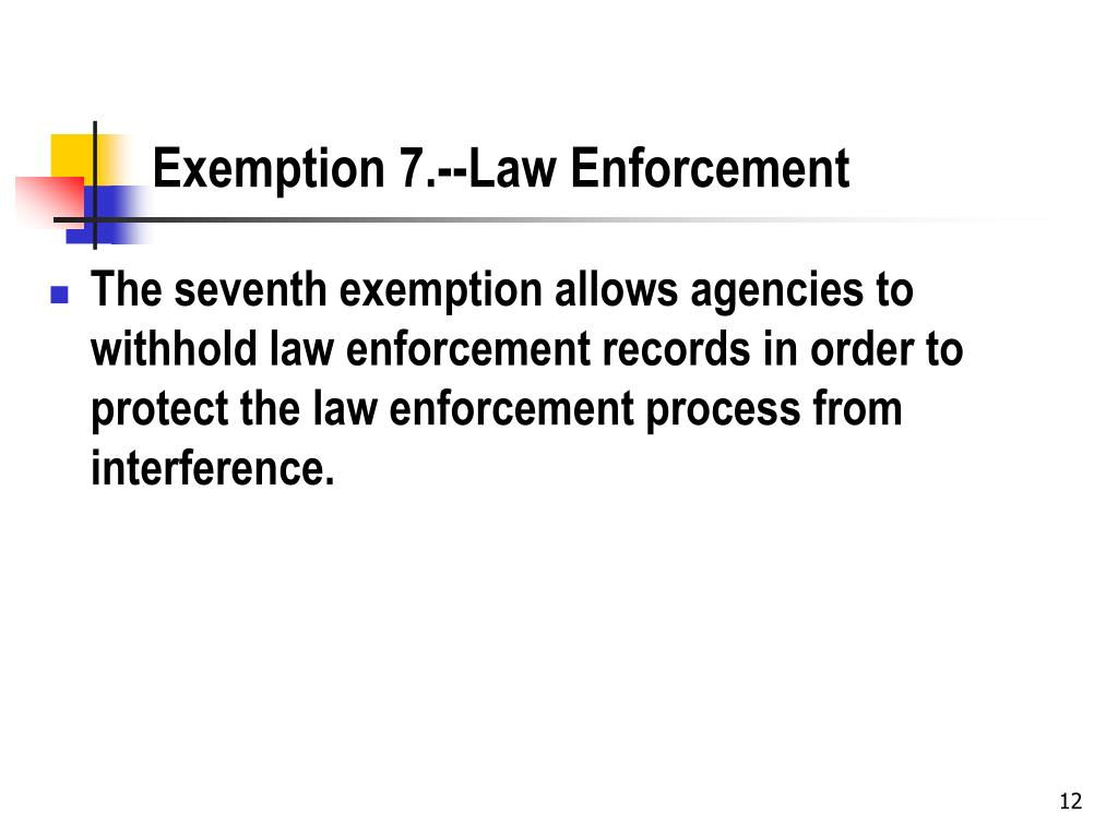 Exemption 7.--Law Enforcement