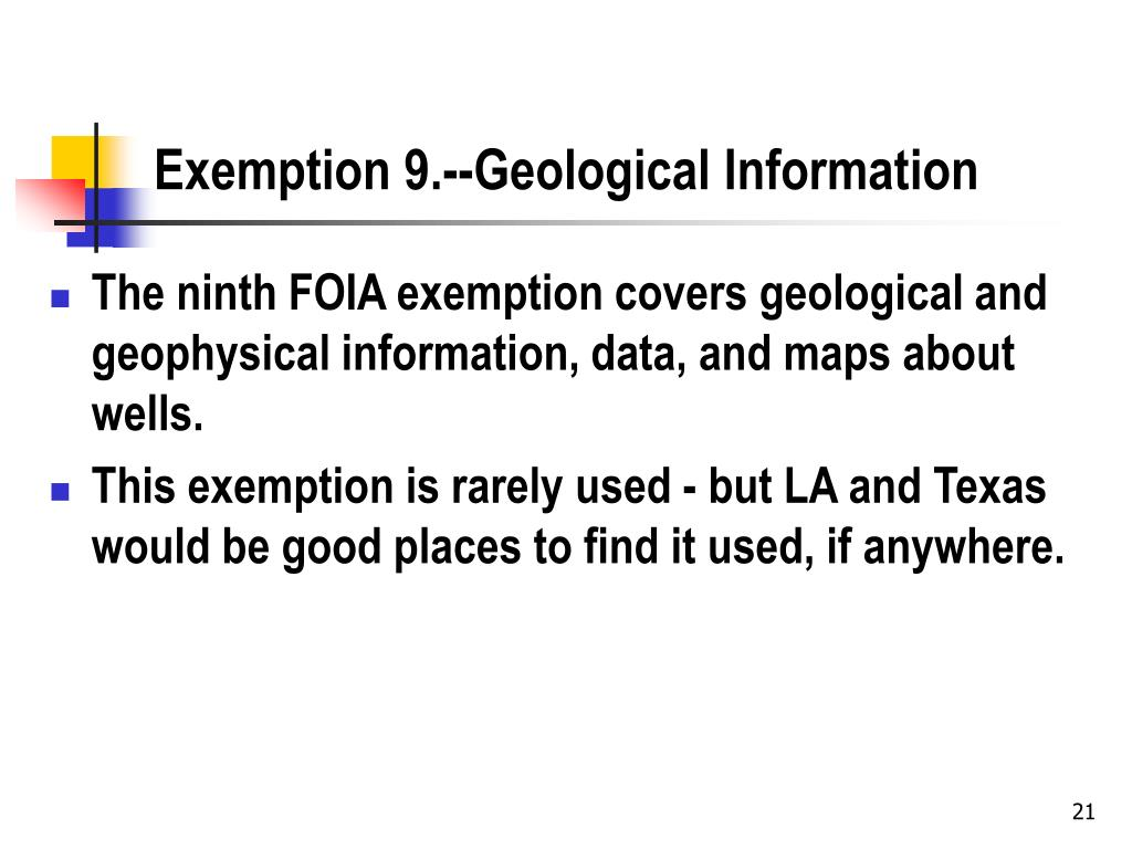 Exemption 9.--Geological Information