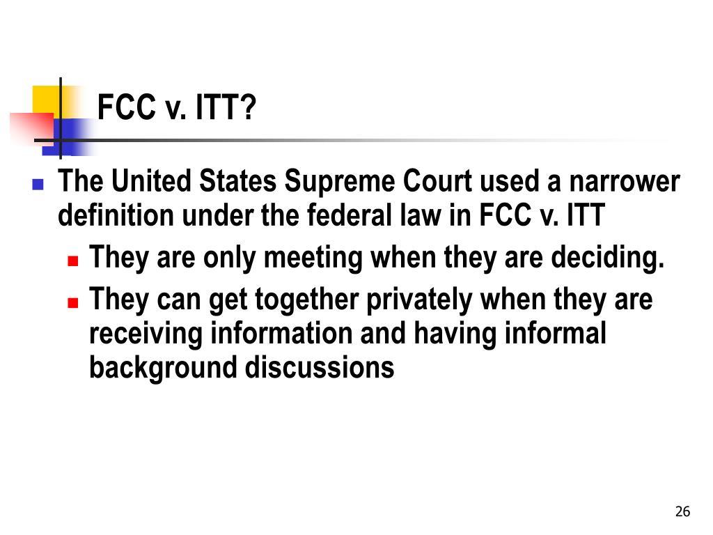 FCC v. ITT?