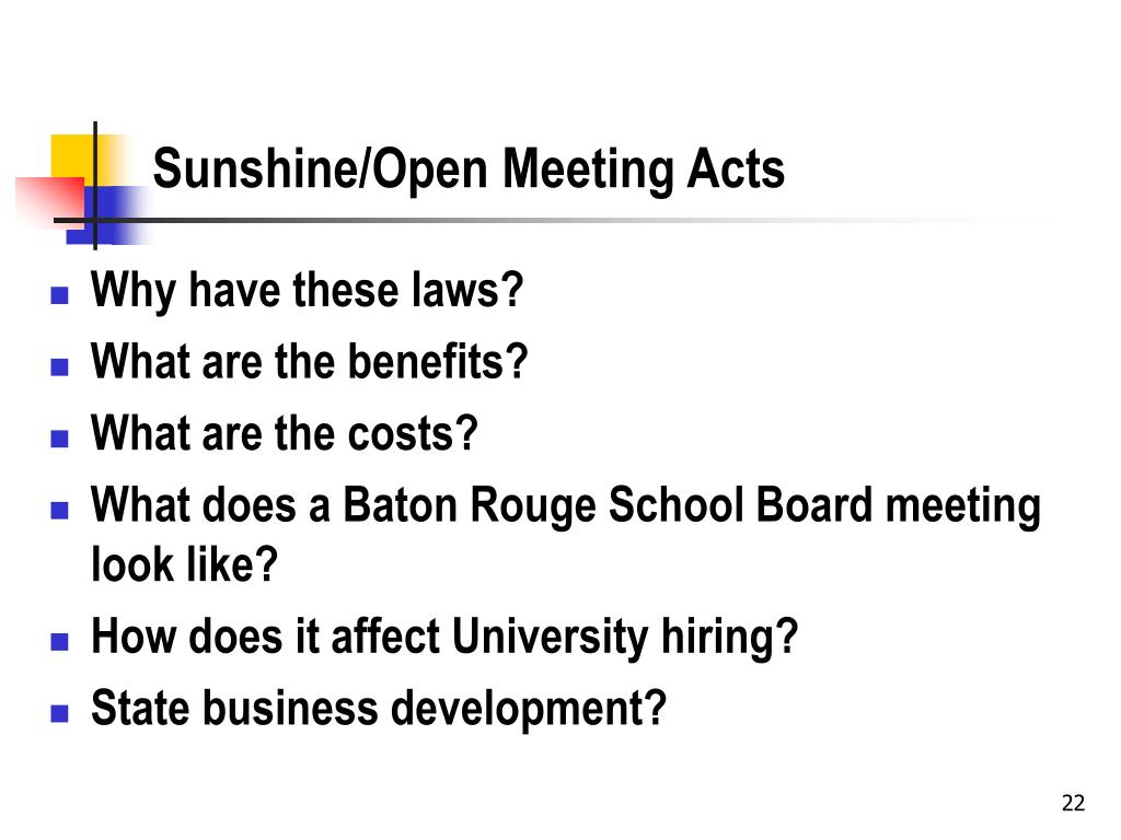 Sunshine/Open Meeting Acts