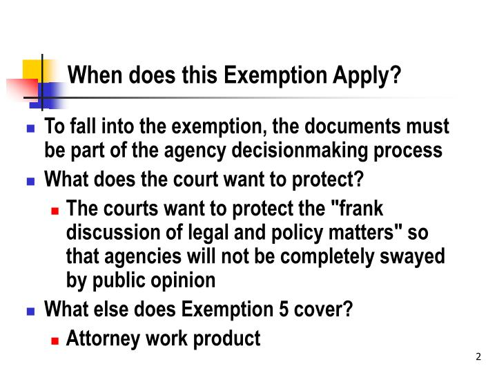 When does this exemption apply