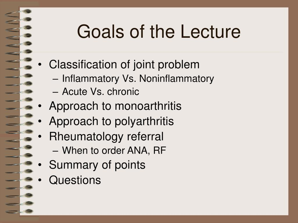 Goals of the Lecture
