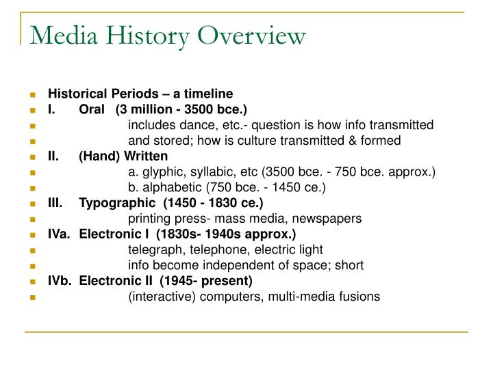 Media History Overview