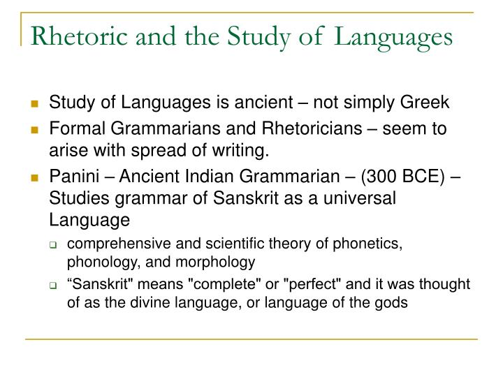 Rhetoric and the Study of Languages