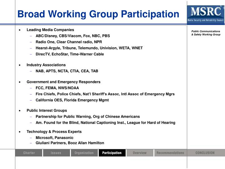Broad Working Group Participation