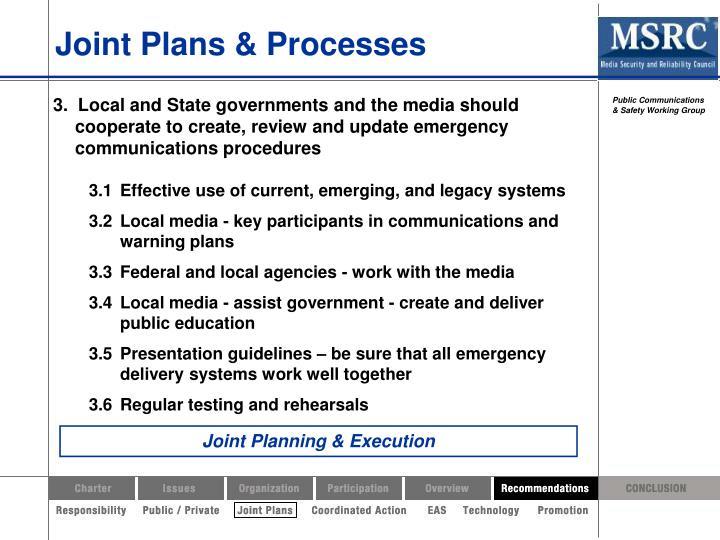 Joint Plans & Processes