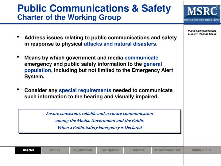 Public Communications & Safety