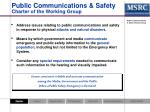 public communications safety charter of the working group