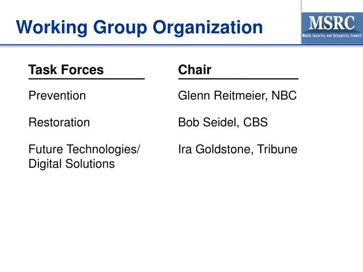 Working Group Organization