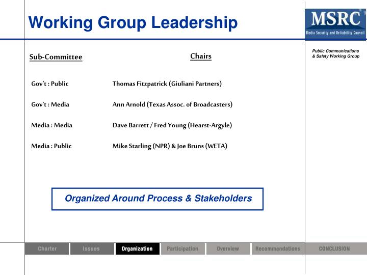 Working Group Leadership