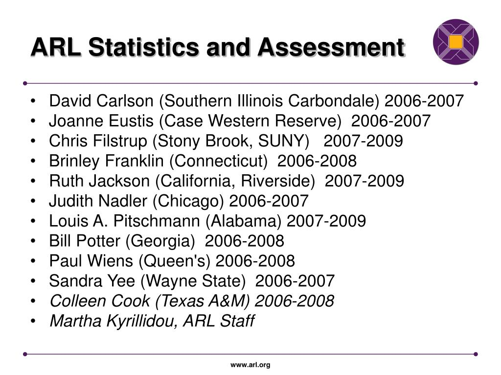 ARL Statistics and Assessment