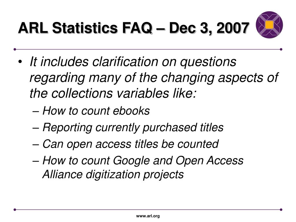 ARL Statistics FAQ – Dec 3, 2007