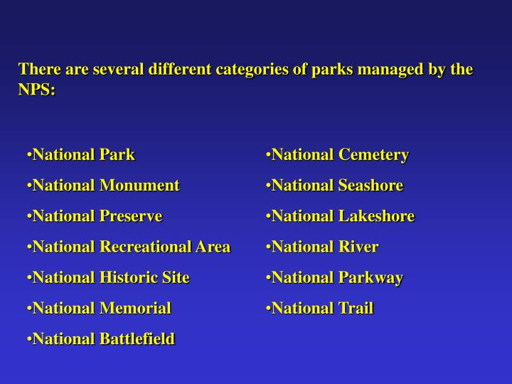 There are several different categories of parks managed by the NPS: