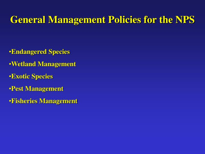 General Management Policies for the NPS