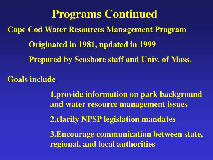 Programs Continued