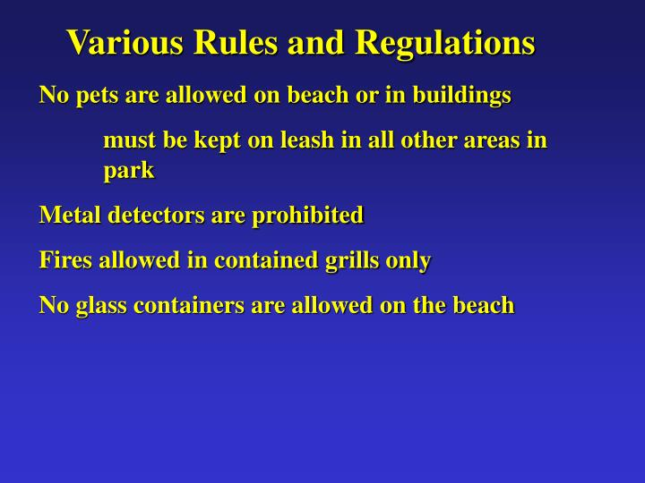 Various Rules and Regulations