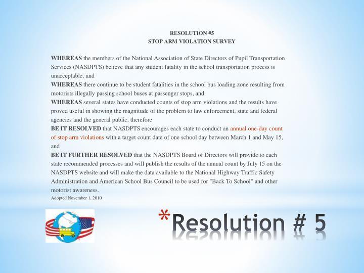 RESOLUTION #5