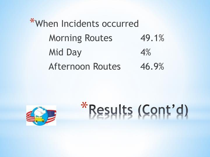 When Incidents occurred