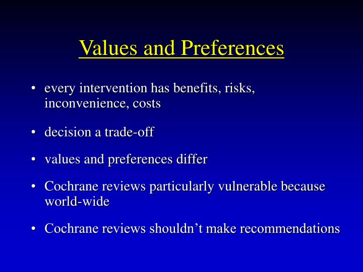 Values and Preferences