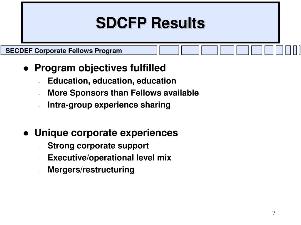 SDCFP Results