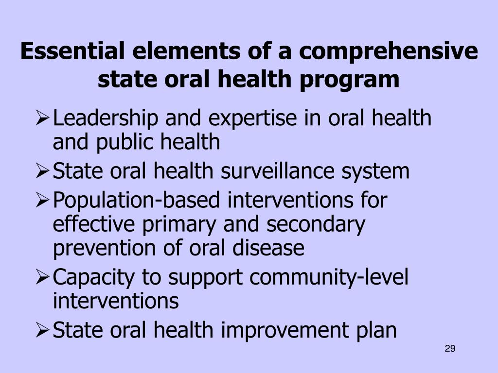 Essential elements of a comprehensive state oral health program