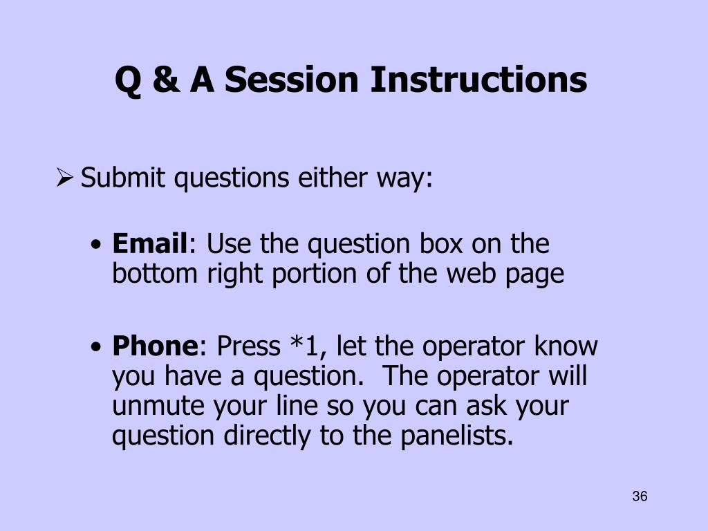 Q & A Session Instructions