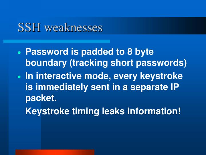 SSH weaknesses