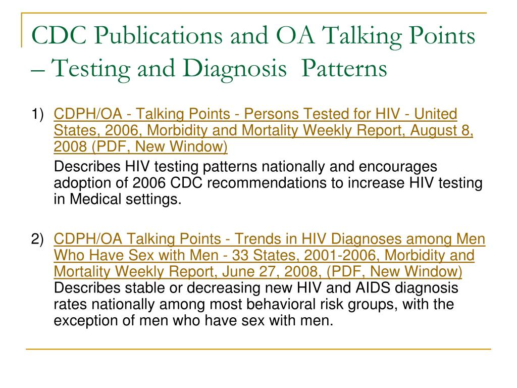 CDC Publications and OA Talking Points – Testing and Diagnosis  Patterns