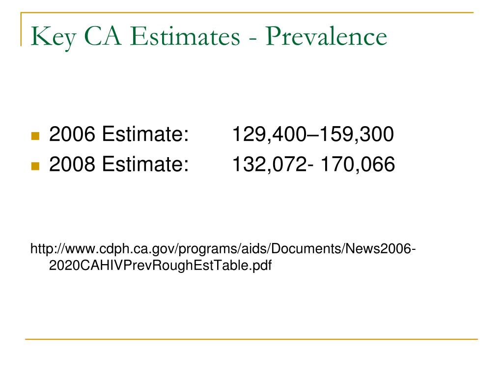 Key CA Estimates - Prevalence