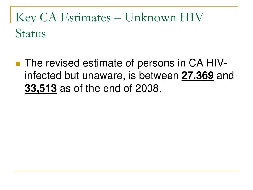 Key CA Estimates – Unknown HIV Status