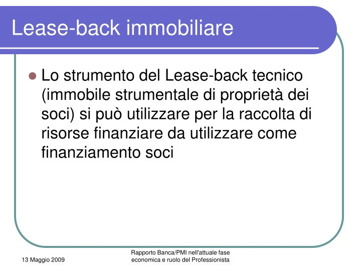 Lease-back immobiliare