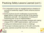 practicing safety lessons learned con t29