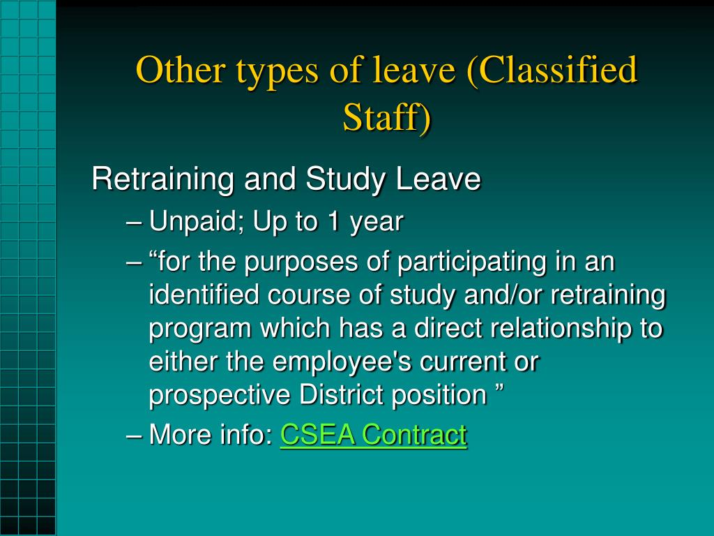 Other types of leave (Classified Staff)