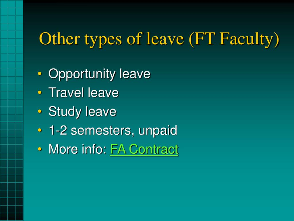 Other types of leave (FT Faculty)