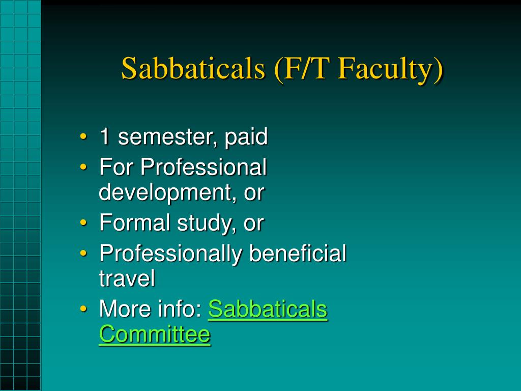 Sabbaticals (F/T Faculty)