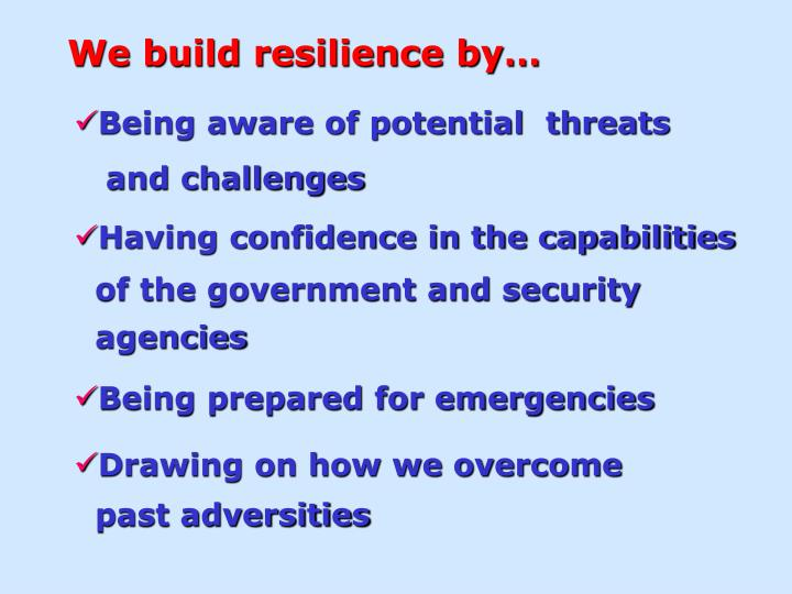 We build resilience by…
