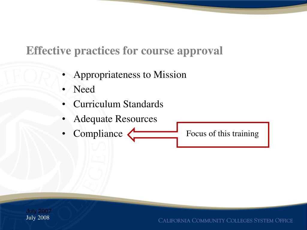 Effective practices for course approval