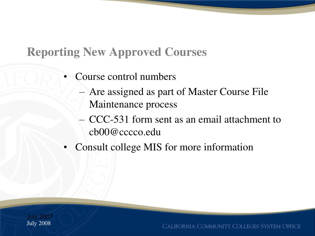 Reporting New Approved Courses