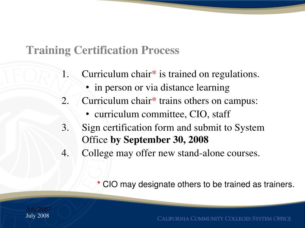 Training Certification Process