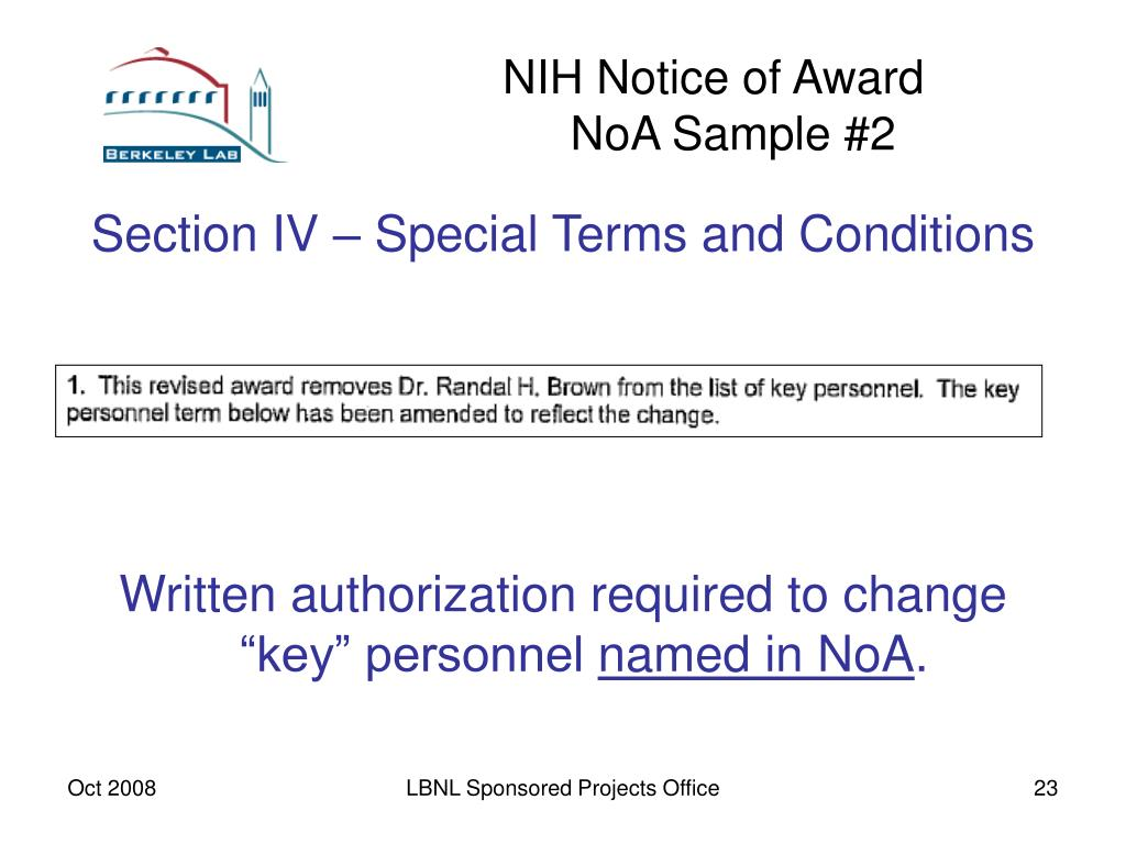 NIH Notice of Award