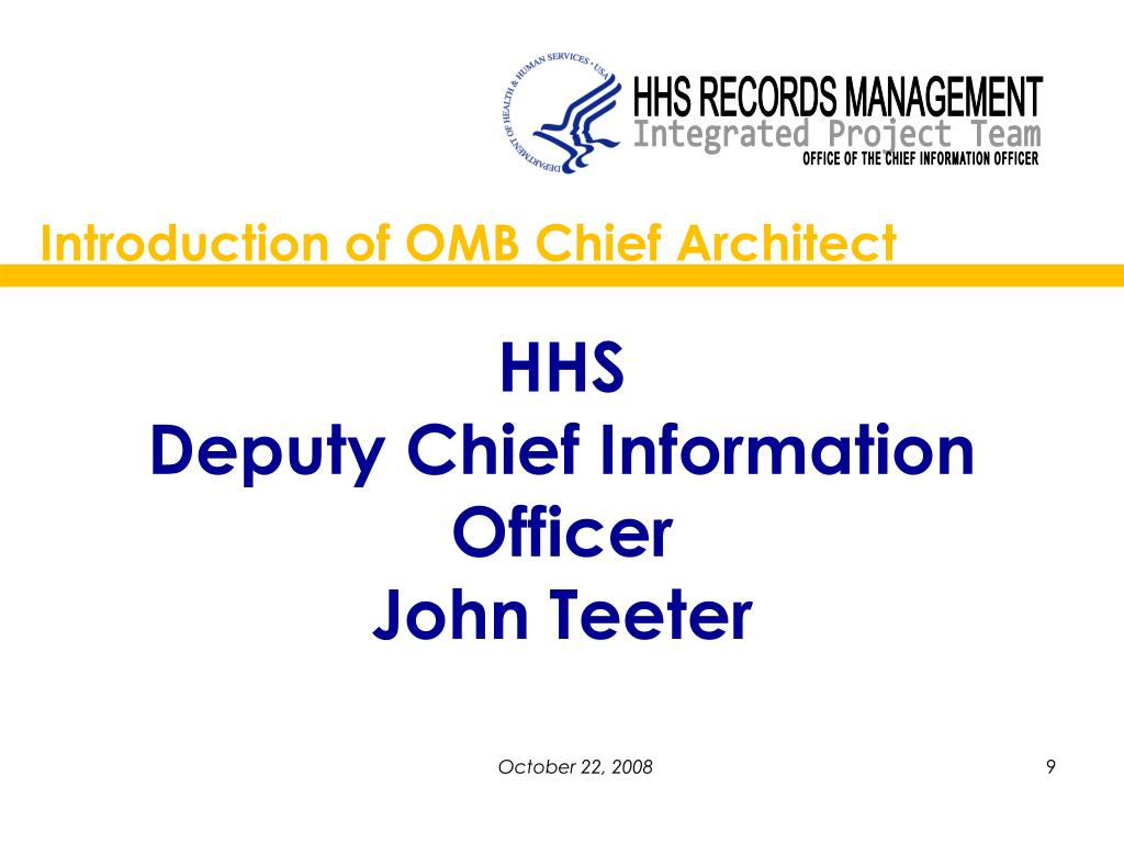 Introduction of OMB Chief Architect