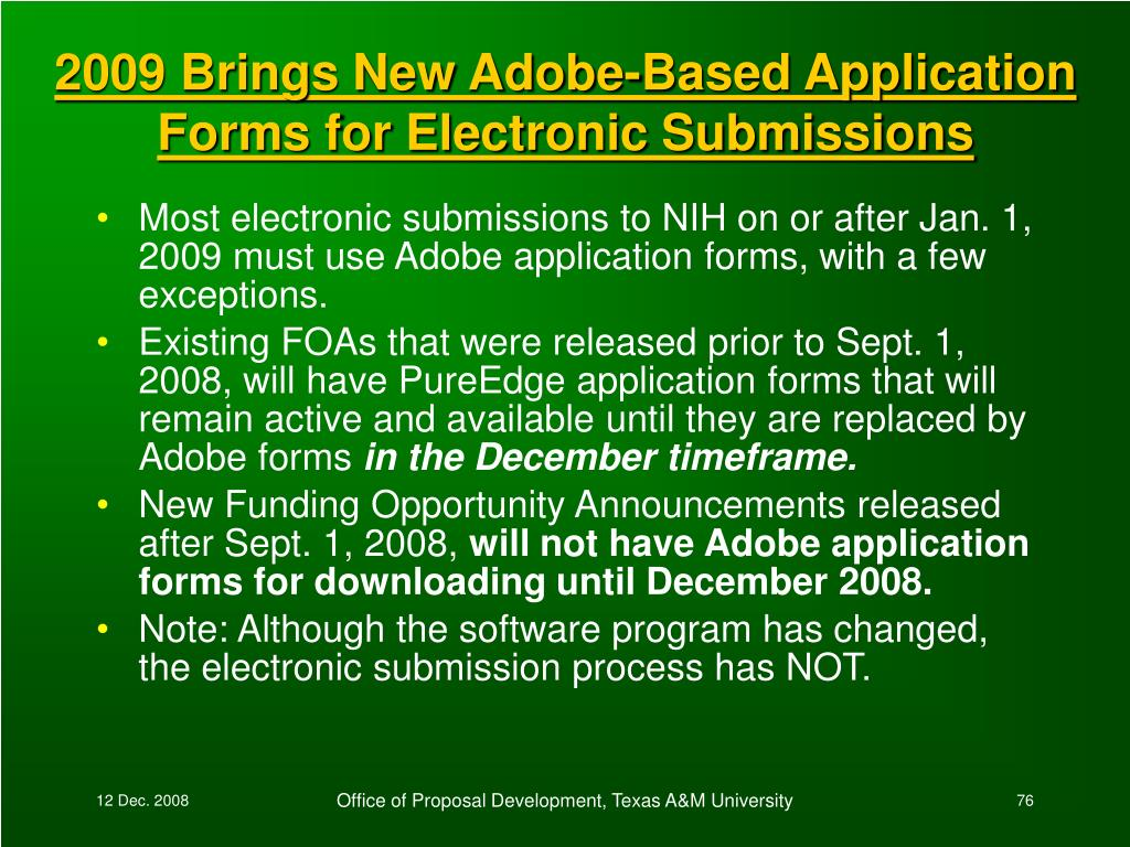 2009 Brings New Adobe-Based Application Forms for Electronic Submissions