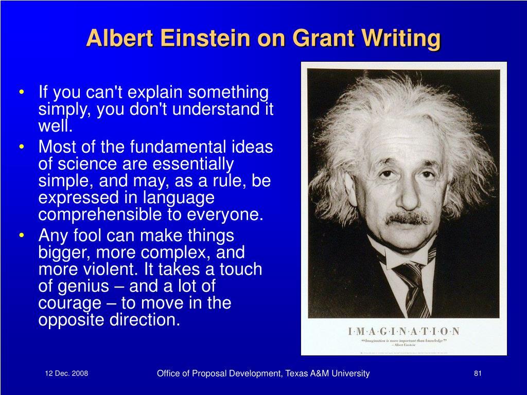 Albert Einstein on Grant Writing