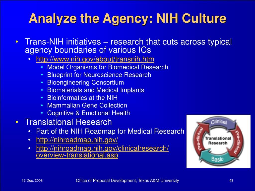 Analyze the Agency: NIH Culture