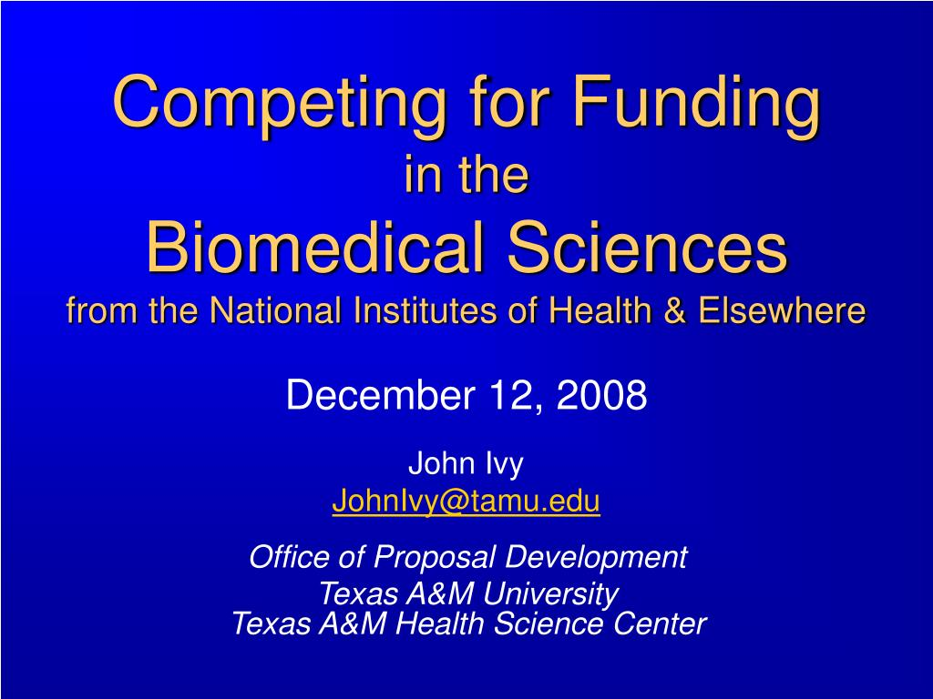 competing for funding in the biomedical sciences from the national institutes of health elsewhere