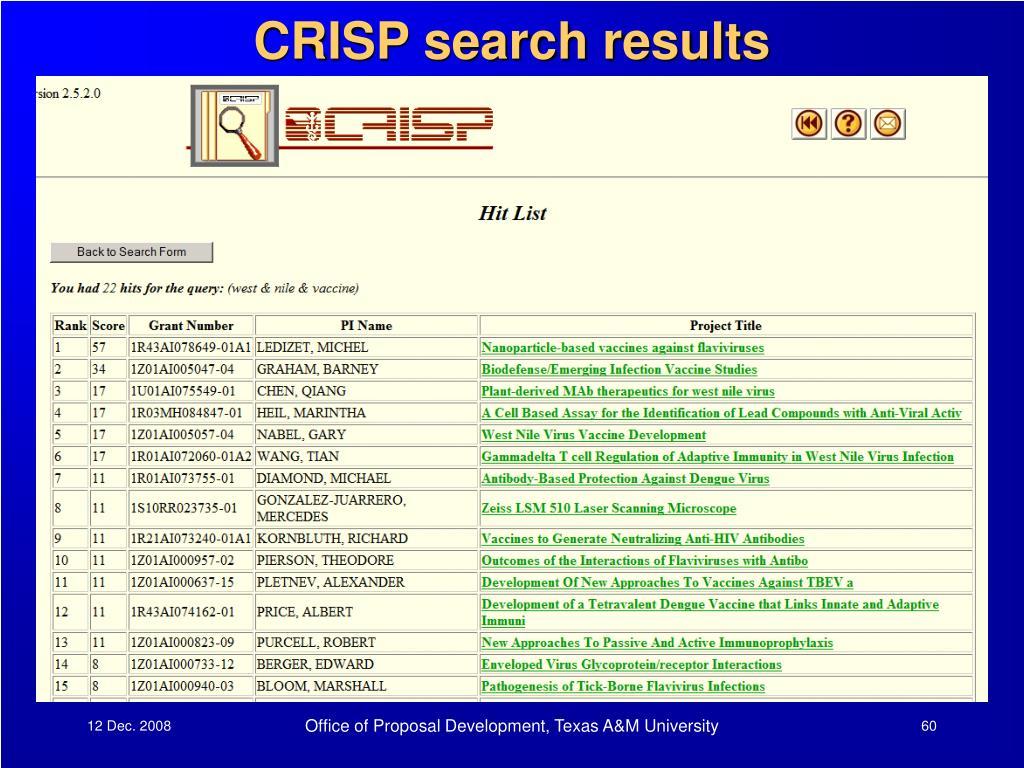 CRISP search results
