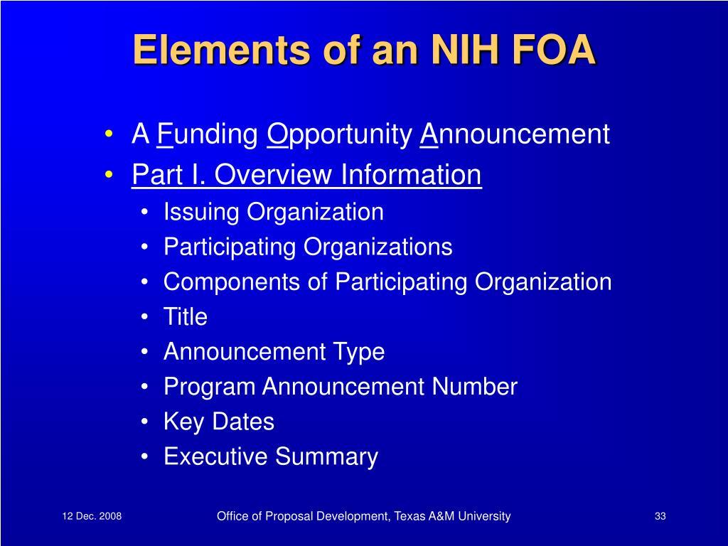 Elements of an NIH FOA