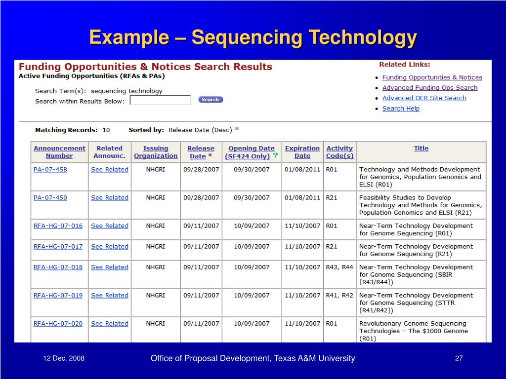 Example – Sequencing Technology